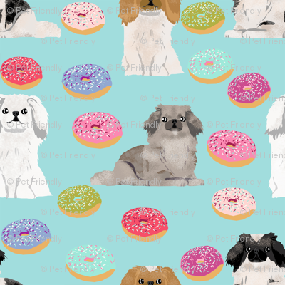 Pekingese dog breed donuts blue