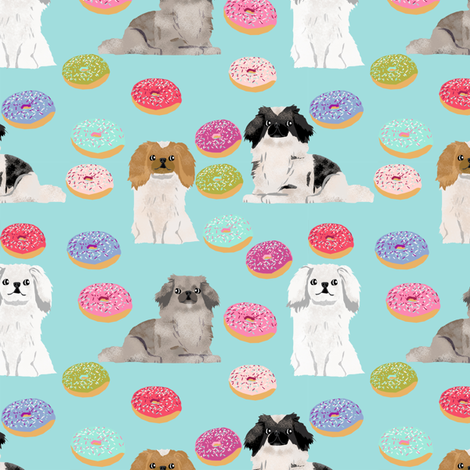 Pekingese dog breed donuts blue fabric by petfriendly on Spoonflower - custom fabric