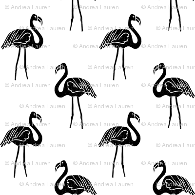flamingo fabric // simple tropical summer preppy flamingo design by andrea lauren - black and white