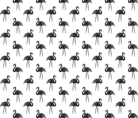 flamingo fabric // simple tropical summer preppy flamingo design by andrea lauren - black and white fabric by andrea_lauren on Spoonflower - custom fabric