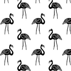 flamingo fabric // simple tropical summer preppy flamingo design by andrea lauren - black and white
