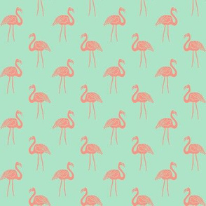 flamingo fabric // simple tropical summer preppy flamingo design by andrea lauren - coral on mint