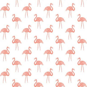 flamingo fabric // simple tropical summer preppy flamingo design by andrea lauren - coral on white
