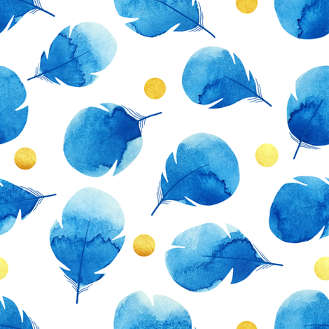 Watercolor feathers and golden dots  fabric by elena_naylor on Spoonflower - custom fabric