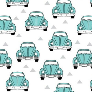 teal cars-front view