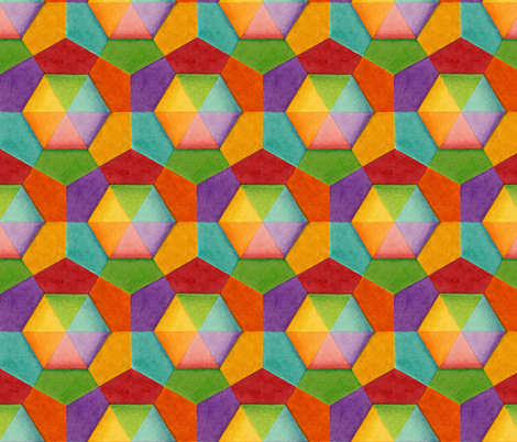 Rainbow Hexagons fabric by patriciasheadesigns on Spoonflower - custom fabric