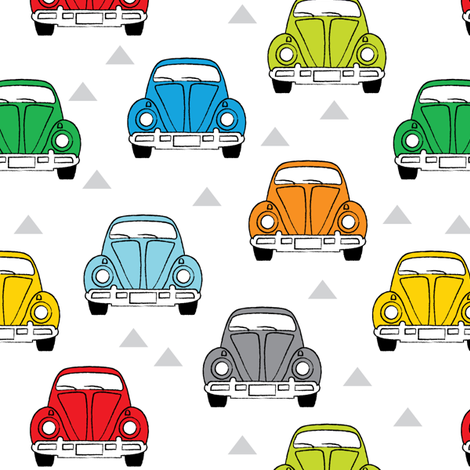 multi-color cars front view fabric by lilcubby on Spoonflower - custom fabric