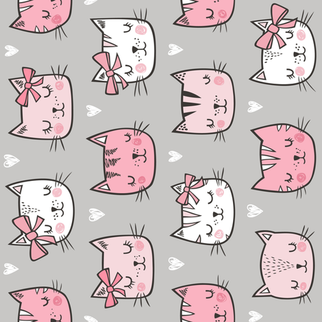 Pink Cat Cats  Faces with Bows and Hearts on Grey Rotated fabric by caja_design on Spoonflower - custom fabric