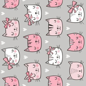 Pink Cat Cats  Faces with Bows and Hearts on Grey Rotated