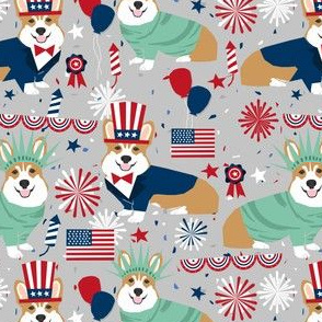 corgi july 4th fabric independence day america fabric - grey
