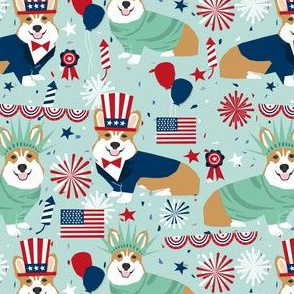 corgi july 4th fabric independence day america fabric - light blue