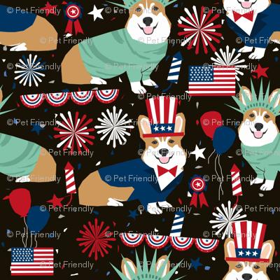 corgi july 4th fabric independence day america fabric - black