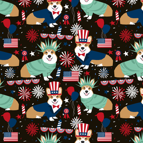 corgi july 4th fabric independence day america fabric - black fabric by petfriendly on Spoonflower - custom fabric