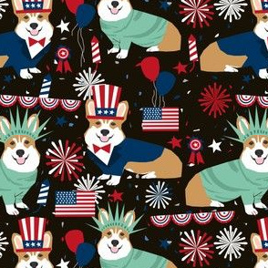 corgi july 4th fabric independence day america fabric - black