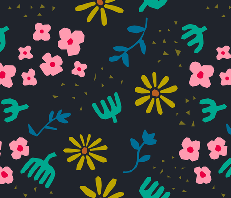 Matisse's Garden at Night fabric by bashfulbirdie on Spoonflower - custom fabric