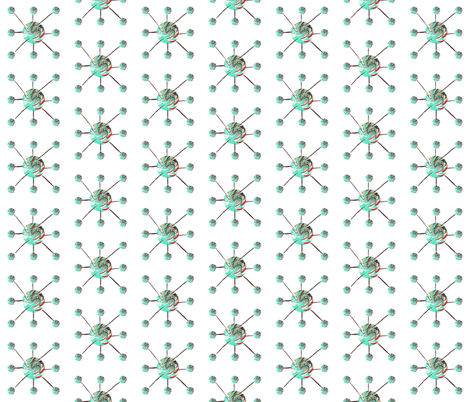 Blue atoms in snow fabric by twigsandblossoms on Spoonflower - custom fabric