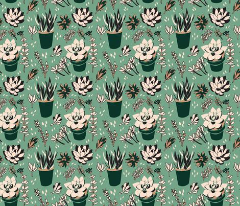 Creamy Green & Black Succulents fabric by henryfarmcreative on Spoonflower - custom fabric