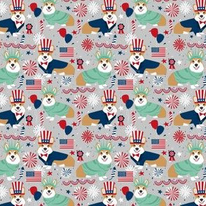 corgi july 4th fabric corgis usa independence day fabric - grey