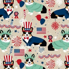 corgi july 4th fabric tricolored corgis usa independence day fabric - sand
