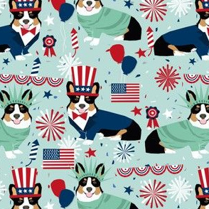 corgi july 4th fabric tricolored corgis usa independence day fabric - light blue