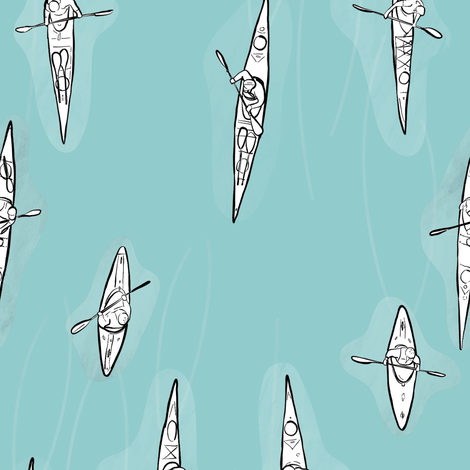 Kayakers on Light Blue fabric by landpenguin on Spoonflower - custom fabric