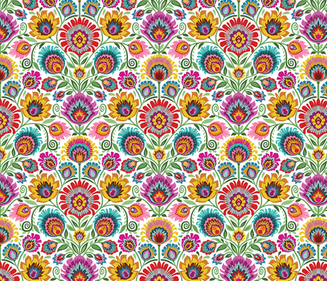 Wycinanki-Moravian style-white background fabric by groovity on Spoonflower - custom fabric