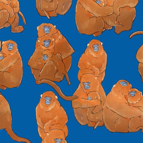 Golden Monkeys on Blue fabric by landpenguin on Spoonflower - custom fabric