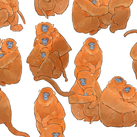 Golden Monkey on White fabric by landpenguin on Spoonflower - custom fabric