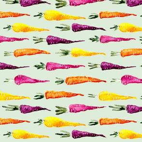 Watercolor Rainbow Carrots on Green Background