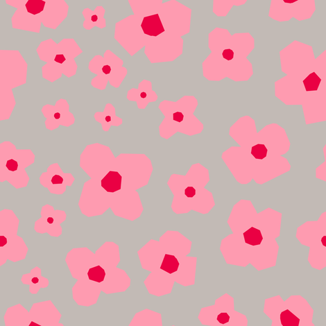 Pretty in Pink Poppies fabric by bashfulbirdie on Spoonflower - custom fabric