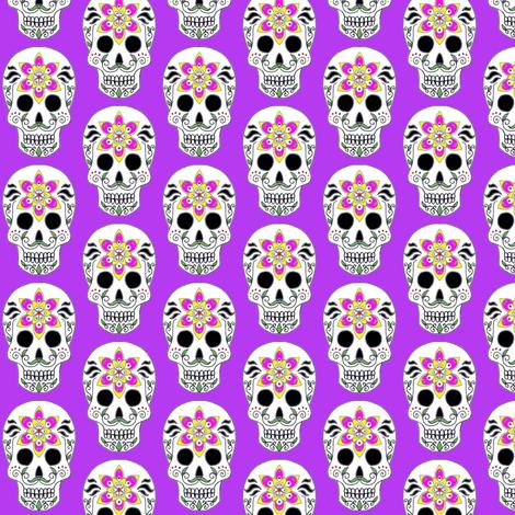Albert Skull on purple fabric by fairytale_&_whimsy on Spoonflower - custom fabric