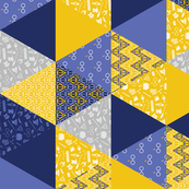 Pastel Wizard Cheater Quilt - Navy, Gold & Gray
