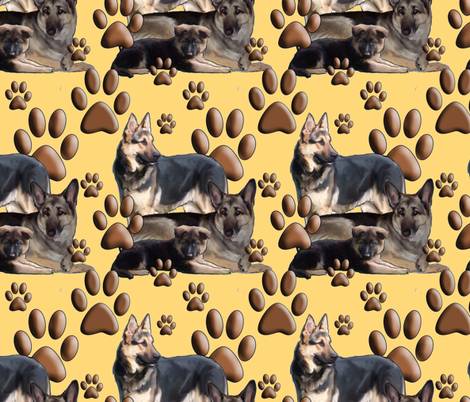 yellow_background_gsd_family_fabric2 fabric by dogdaze_ on Spoonflower - custom fabric