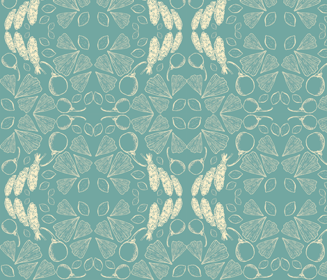 Ginkgo Life Cycle, Cantone fabric by jen_stone on Spoonflower - custom fabric