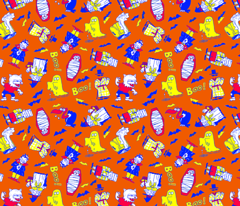Anime Monsters on Orange fabric by pkfridley on Spoonflower - custom fabric