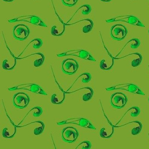Tropical Tendrils on Jungle Green