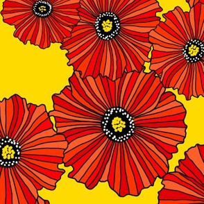Red poppies on gold