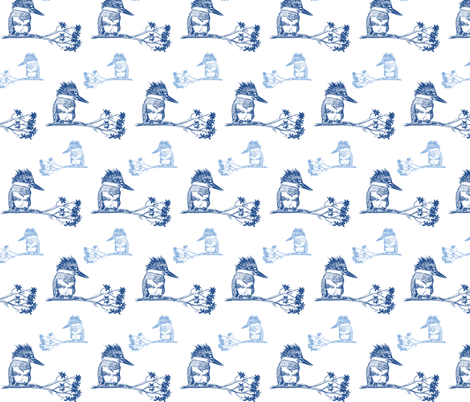 Blue Kingfisher Birds fabric by madrona_tree on Spoonflower - custom fabric
