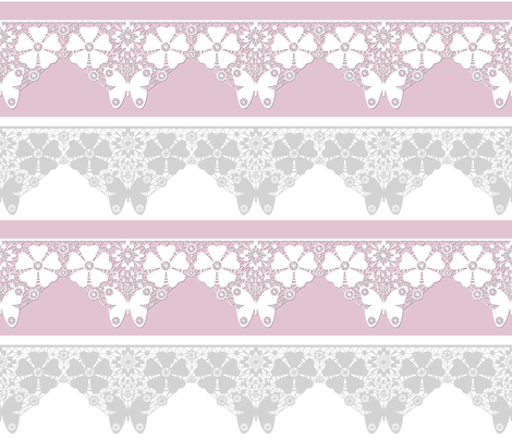 Cut the lace .Pink fabric by fuzzyfox on Spoonflower - custom fabric