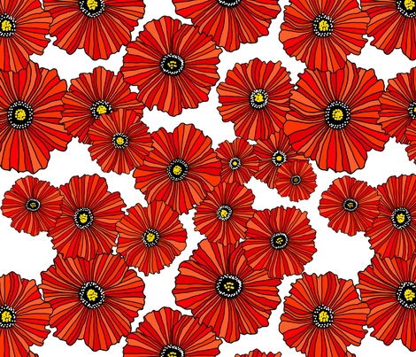 Red poppies on white fabric by beesocks on Spoonflower - custom fabric