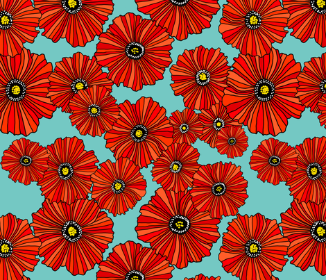 Scarlet poppies on sky fabric by beesocks on Spoonflower - custom fabric