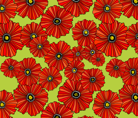 Red poppies on sage green fabric by beesocks on Spoonflower - custom fabric