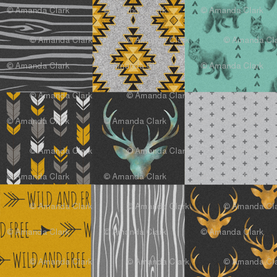 Gold and Neptune Boho Wholecloth Quilt - deer, arrows, fox with grey, yellow gold, and teal/mint