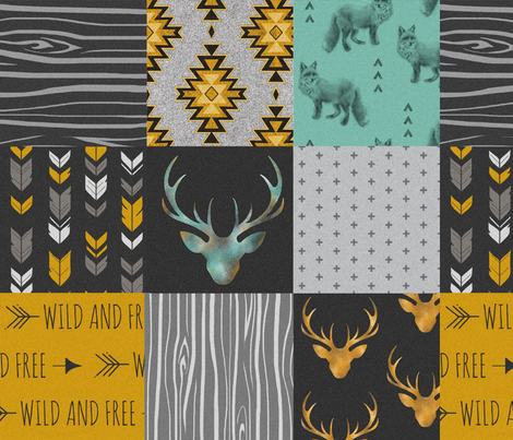 Gold and Neptune Boho Wholecloth Quilt - deer, arrows, fox with grey, yellow gold, and teal/mint  fabric by sugarpinedesign on Spoonflower - custom fabric