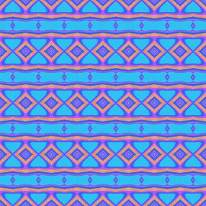 Dazzling Turquoise Orange Purple Stripes