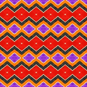 Zig Zag Red Orange Purple Black Cream