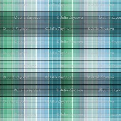 Blue green plaid checkered
