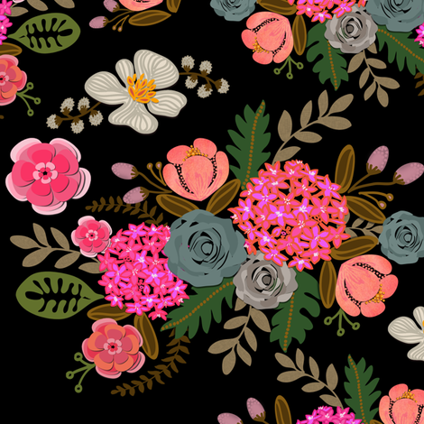 Paper Cut Bouquets on Black fabric by honoluludesign on Spoonflower - custom fabric