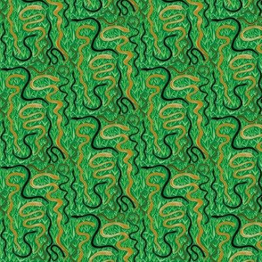 Slithering in the Grass on Rainforest Green - Small Scale