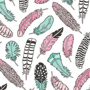 Boho Feathers Pink Mint Green on White